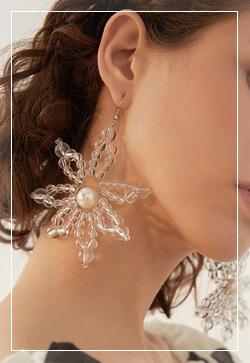[수입] 눈꽃 투명한 귀걸이 악세사리쇼핑몰 체인목걸이 이어커프 명품귀걸이 명품스타일