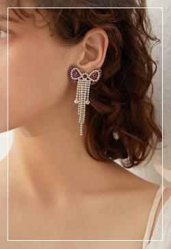 [수입] 체리리본 큐빅실버 귀걸이 악세사리쇼핑몰 체인목걸이 이어커프 명품귀걸이 명품스타일