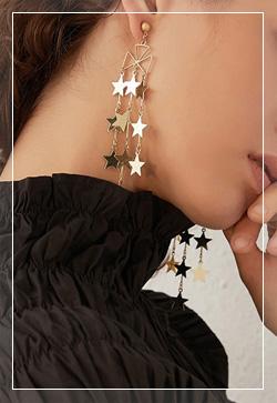 [수입] 열개의 골드스타 귀걸이 악세사리쇼핑몰 체인목걸이 이어커프 명품귀걸이 명품스타일