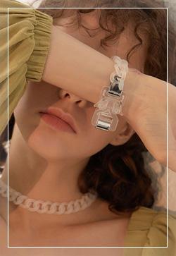 [수입] 투명한 볼드체인 팔찌 악세사리쇼핑몰 체인목걸이 이어커프 명품귀걸이 명품스타일