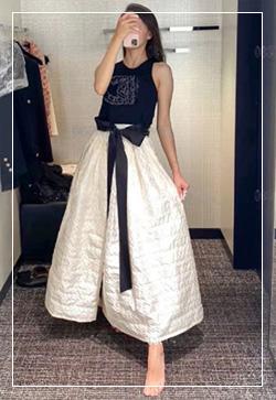 [수입] 폴라몰리 블랙리본 스커트 30대여성쇼핑몰 결혼식하객패션 하객원피스 수입여성의류 원피스쇼핑몰 연예인원피스