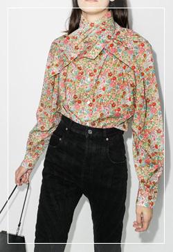 [수입] 에이스 잔꽃코튼 셔츠 30대여성쇼핑몰 결혼식하객패션 하객원피스 수입여성의류 원피스쇼핑몰 연예인원피스
