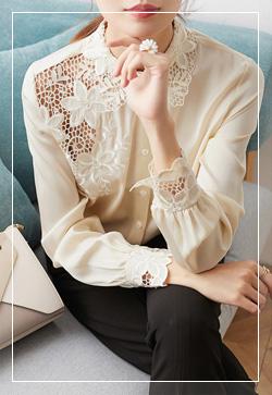 [수입] 파인레이스 카라 셔츠 30대여성쇼핑몰 결혼식하객패션 하객원피스 수입여성의류 원피스쇼핑몰 연예인원피스