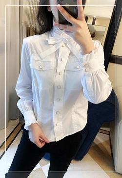 [수입] 앨리스화이트 버튼 셔츠 30대여성쇼핑몰 결혼식하객패션 하객원피스 수입여성의류 원피스쇼핑몰 연예인원피스