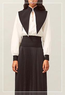 [수입] 아이린 블랙카라 셔츠 30대여성쇼핑몰 결혼식하객패션 하객원피스 수입여성의류 원피스쇼핑몰 연예인원피스