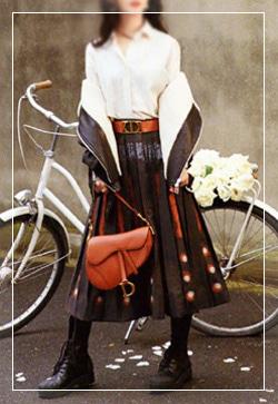 [수입] 메리트 오렌지주름 스커트 30대여성쇼핑몰 결혼식하객패션 하객원피스 수입여성의류 원피스쇼핑몰 연예인원피스