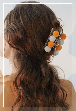 [수입] 칼라 폼폼이 머리 핀 악세사리쇼핑몰 체인목걸이 이어커프 명품귀걸이 명품스타일