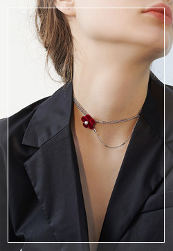 [수입] 벨벳프로랄 체인 목걸이 악세사리쇼핑몰 체인목걸이 이어커프 명품귀걸이 명품스타일