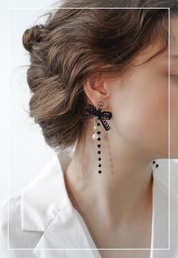 [수입] 에밀리 리본레이스 귀걸이 악세사리쇼핑몰 체인목걸이 이어커프 명품귀걸이 명품스타일