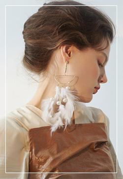 [수입] 맥시골드 깃털 귀걸이 악세사리쇼핑몰 체인목걸이 이어커프 명품귀걸이 명품스타일
