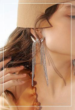 [수입] 앙투와 큐빅 화려한 귀걸이 악세사리쇼핑몰 체인목걸이 이어커프 명품귀걸이 명품스타일
