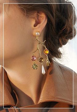 [수입] 골드열매 큐빅 귀걸이 악세사리쇼핑몰 체인목걸이 이어커프 명품귀걸이 명품스타일