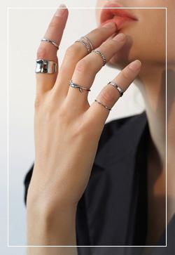 [수입] 앨리스 실버링 세트 반지 악세사리쇼핑몰 체인목걸이 이어커프 명품귀걸이 명품스타일