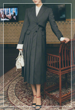 [수입] 럭스그레이 리본 원피스 30대여성쇼핑몰 결혼식하객패션 하객원피스 수입여성의류 원피스쇼핑몰 연예인원피스