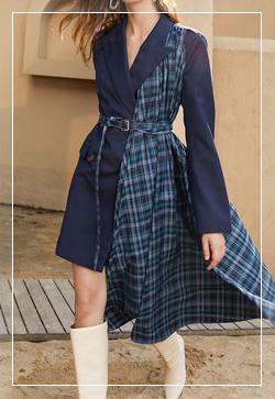 [수입] 언발블루 체크타입 원피스 30대여성쇼핑몰 결혼식하객패션 하객원피스 수입여성의류 원피스쇼핑몰 연예인원피스