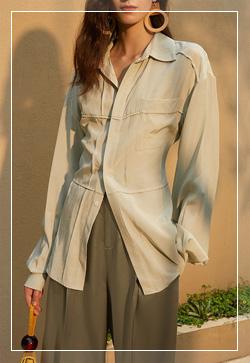 [수입] 포켓 라이닝 그린 셔츠 30대여성쇼핑몰 결혼식하객패션 하객원피스 수입여성의류 원피스쇼핑몰 연예인원피스
