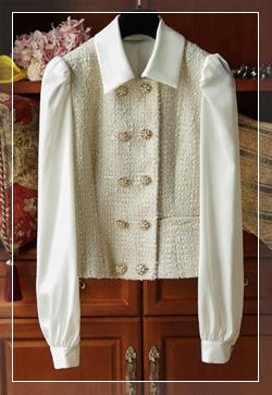 [수입] 트위드 믹스프레임 셔츠 30대여성쇼핑몰 결혼식하객패션 하객원피스 수입여성의류 원피스쇼핑몰 연예인원피스