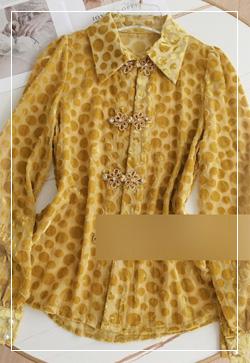 [수입] 망고벨벳 도트 셔츠 30대여성쇼핑몰 결혼식하객패션 하객원피스 수입여성의류 원피스쇼핑몰 연예인원피스