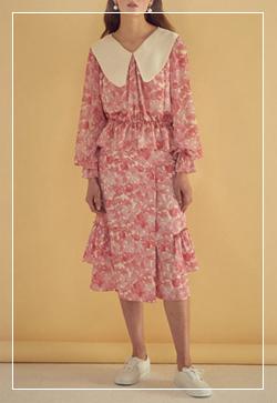 [수입] 핑크 미뉴에트 하얀카라 원피스 30대여성쇼핑몰 결혼식하객패션 하객원피스 수입여성의류 원피스쇼핑몰 연예인원피스