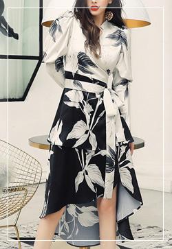 [수입] 슬리밍 폴배색 럭셔리 원피스 30대여성쇼핑몰 결혼식하객패션 하객원피스 수입여성의류 원피스쇼핑몰 연예인원피스