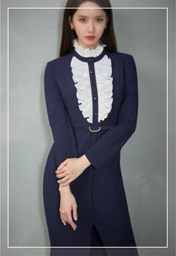 [수입] 헤이즈 네이비프릴 원피스 30대여성쇼핑몰 결혼식하객패션 하객원피스 수입여성의류 원피스쇼핑몰 연예인원피스