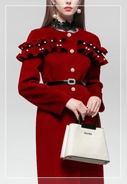 [수입] 진주방울 눈꽃레드 코트 30대여성쇼핑몰 결혼식하객패션 하객원피스 수입여성의류 원피스쇼핑몰 연예인원피스