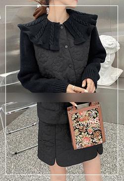 [수입] 스티치 니트믹스 가디건&스커트 투피스 세트 30대여성쇼핑몰 결혼식하객패션 하객원피스 수입여성의류 원피스쇼핑몰 연예인원피스