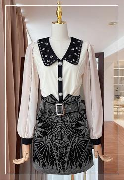 [수입] 러쉬드 큐빅버튼 셔츠 30대여성쇼핑몰 결혼식하객패션 하객원피스 수입여성의류 원피스쇼핑몰 연예인원피스