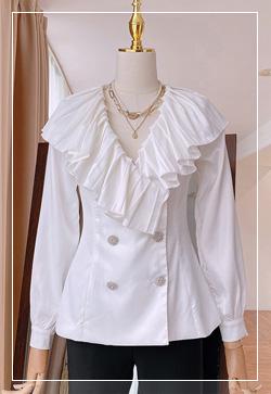 [수입] 퍼니쉬 프릴브이넥 셔츠 30대여성쇼핑몰 결혼식하객패션 하객원피스 수입여성의류 원피스쇼핑몰 연예인원피스