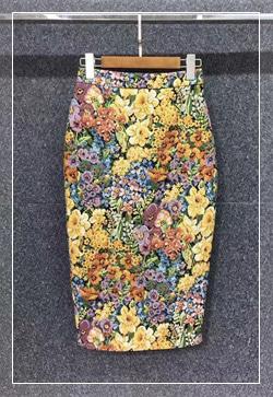 (수입) 메이트 노란꽃 스커트