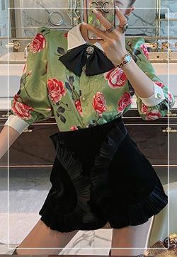 (수입) 플러쉬그린 꽃 셔츠