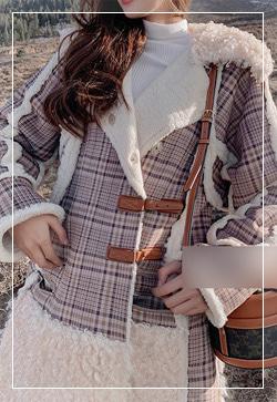 (수입) 스위티 체크양털 코트