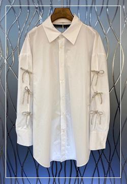 (수입) 러쉬리본 트임 셔츠
