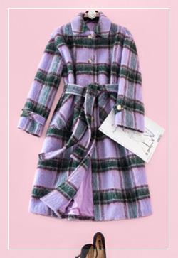 (수입) 알파카 퍼플체크 코트