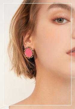 (수입) 헤이즐넛 핑크 귀걸이