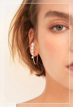 (수입) 죠앤 다섯개진주 귀찌 귀걸이