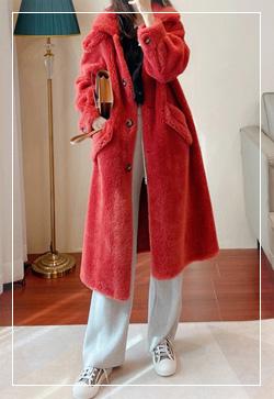 (수입) 양털 레드베리 코트