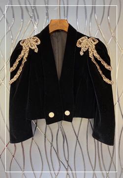 (수입) 숄더다이아 숏 벨벳 자켓