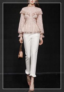 (수입) 프릴 핑크라인 꽃 셔츠&팬츠 투피스 세트