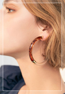 (수입) 브라운 플러스링 귀걸이