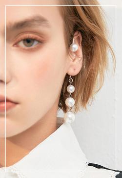 (수입) 세방울 귀찌 귀걸이