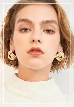 (수입) 세줄꼬임 무광 귀걸이