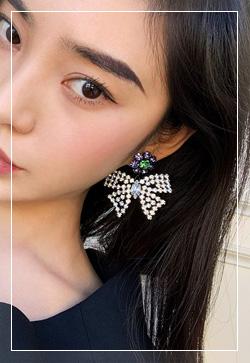 (수입) 코코 블랑리본 귀걸이