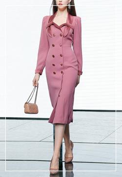 (수입) 앙투와넷 핑크넥 원피스