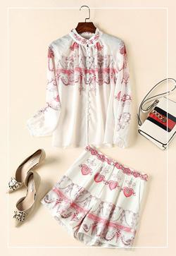 (수입) 핑크 헤리티지 셔츠&스커트 투피스 세트