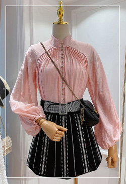 (수입) 핑크스프링 퍼프 셔츠