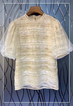 (수입) 미로레이스 블라우스 셔츠
