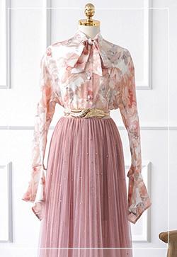 (수입) 애니플라워 핑크 셔츠