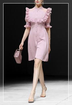 (수입) 러플 사각라인 핑크 원피스
