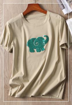 (수입) 코끼리스팽글 티